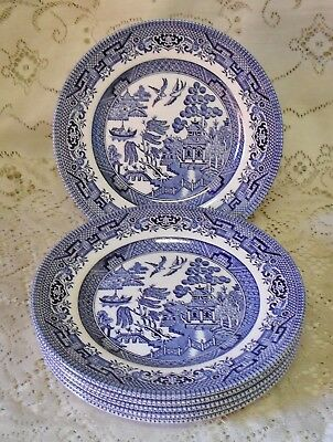 6 CHURCHILL BLUE WILLOW 17cm SIDE BREAD AND BUTTER PLATES MADE IN ENGLAND