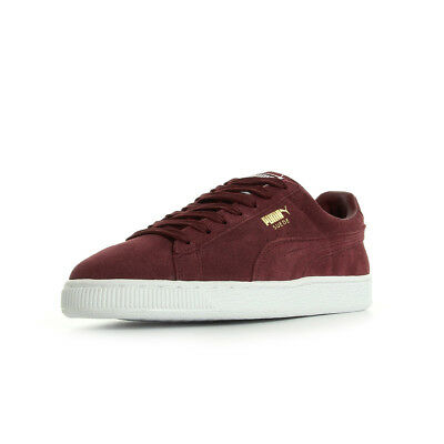 sneakers for cheap 6602f f0f54 Chaussures Baskets Puma homme Suede Classic + taille Bordeaux Cuir Lacets