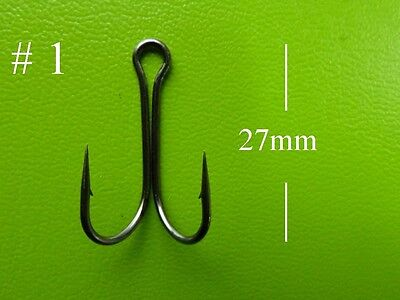 100x DFS size 1 DOUBLE Fishing hooks, black nickel, chemical sharp