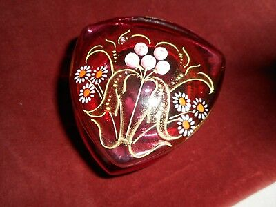 Antique Hand painted French glass trinket box on brass mount