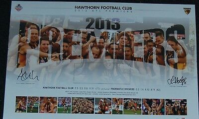 Hawthorn Hawks Afl Premiers Hodge Clarkson Hand Signed Limited Edition Print