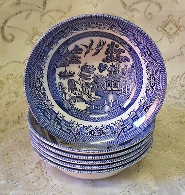 6 CHURCHILL BLUE WILLOW 15.5cm CEREAL DESSERT BOWLS MADE IN ENGLAND