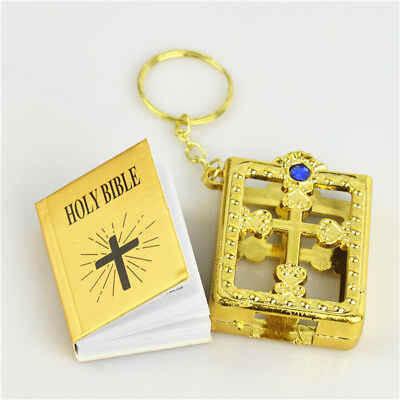Gold Holder Religious Christian Real Paper Holy Bible Key Ring for Good Faith