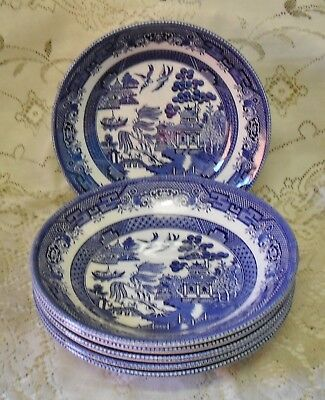 6 CHURCHILL BLUE WILLOW 20cm SOUP BOWLS MADE IN ENGLAND