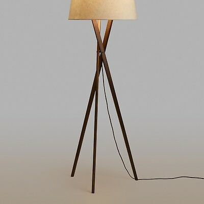 Floor Lamp Shade Light Tripod Wood Base Mid-Century Modern On/Off Corded Switch