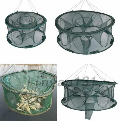 Round  Fishing Trap Net Crab Cage Crayfish Lobster Automatic Open Foldable Hot