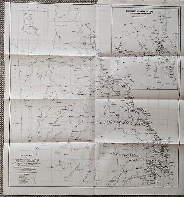 Original Map Queensland Postal Routes Post Offices Telegraph Lines March 1887