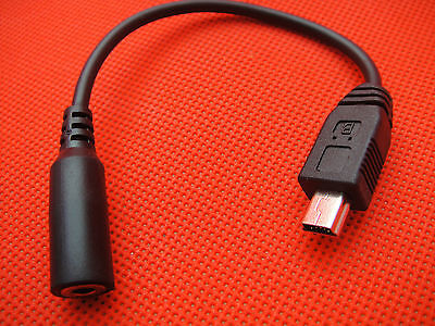 """USB Mini 5-pin Male to 1/8"""" 3.5mm x 1.35mm DC Power Jack Female Black Cable 15cm"""