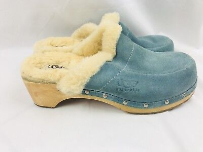 8b2b9dd0517 UGG KALIE #5426 Shearling Fur Lined Red Suede Clogs Slip on Shoes ...