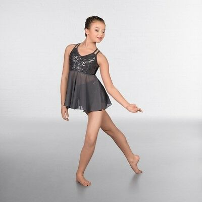 042613fd 1st Position Grey Skirted Sequin Crop Top With Shorts Dance Costume Sc 1 St  PicClick UK