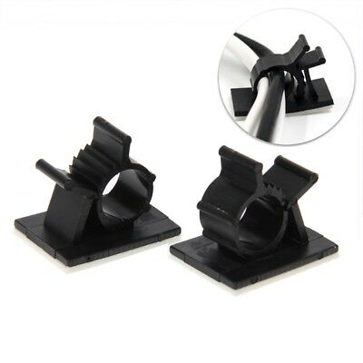 10x Nylon Cable Clips Self Adhesive Clips Organizer Clamp Holder Clamp Black