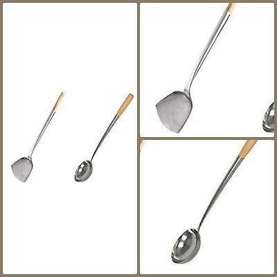 Kitchen Wood Handle Hand Forged Stainless Steel Cooking Wok Shovel And Ladle Set