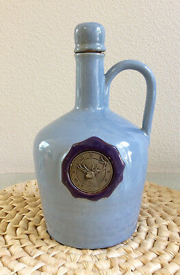 "Vintage Ceramic Jug Decanter Music Box, Elk Motif Emblem, Plays ""How Dry I Am"""