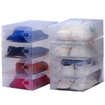 1 20 Pcs Home Plastic Clear Schuh Stiefel Stackable Foldable Storage Organizer_*