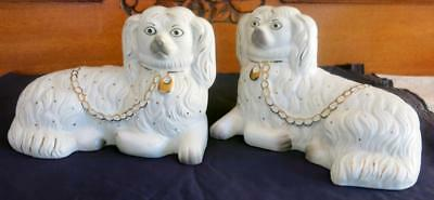 Antique/vintage Pair Of White Staffordshire Dogs