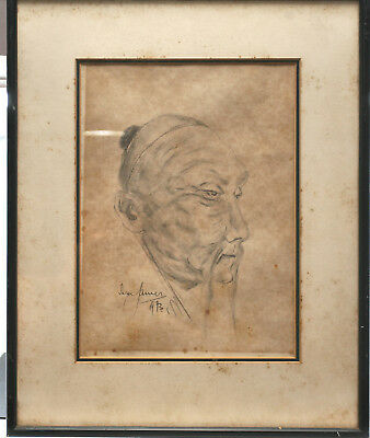 Original Charcoal Drawing Of A Chinese Peasant Circa 1973 Signed & Framed