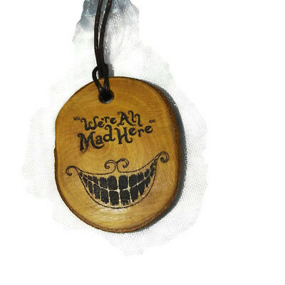 Alice in Wonderland Cheshire cat Handmade Wooden Engraved Necklace Charm Pendant