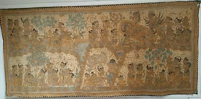 Excellent Work And Old Bali Kamasan Painted In Fabric Multitude Of Scenes