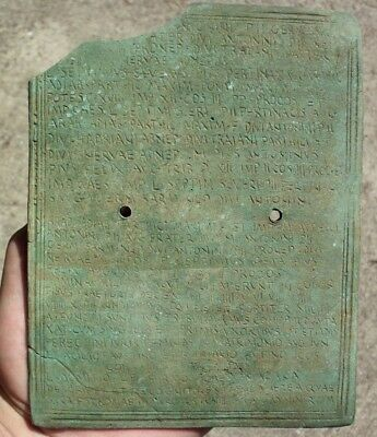 Ancient Roman Imperial Bronze Military Diploma - Authentic! Almost Complete!