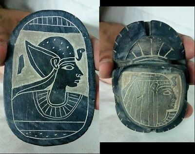 ANCIENT EGYPTIAN ANTIQUE SCARAB Ramses and Cleopatra Scarab 920-700 BC