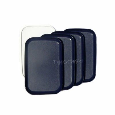 Tupperware Rectangle Lunch PLATES with a Seal x 4 Indigo Blue NEW Picnic Camping