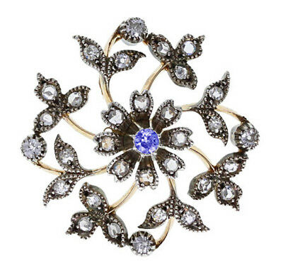 2.60cts ROSE CUT DIAMOND SAPPHIRE ANTIQUE VICTORIAN LOOK 925 SILVER BROOCH PIN