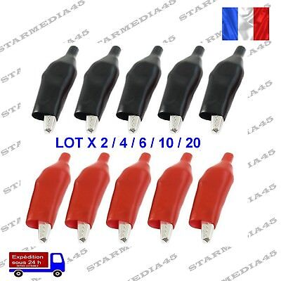 Lot Pince Crocodile Isolée Croco Rouge/Noir Alligator Clip Clamp Test 36mm (150)