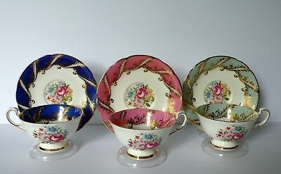 Set of 3 Paragon Floral Pink Roses Cups & Saucers