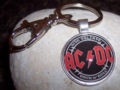 Handmade AC/DC Rock N' Roll Band Keychain - Stainless Steel Key Ring