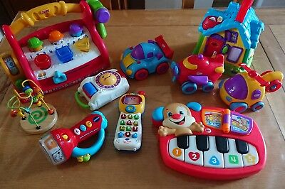 Baby/toddler Toy Bundle. V-tech, Fisher Price. 6 months + tool bench, piano.