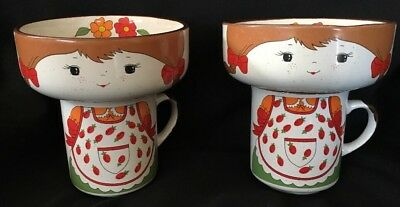 Interpur Stackable Girl Cup Mug Bowl Set Strawberry Apron Stacking Lot of 2 VTG