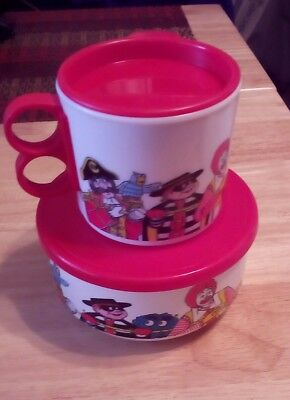 MCDONALDS 1991 Cup And 1992 Bowl Set With Red Lids Plastic Ronald & Friends
