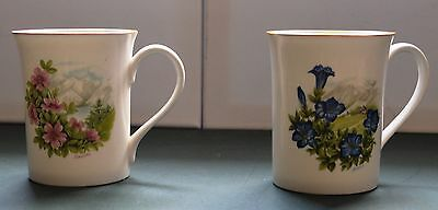 Two Pretty Royal Sutherland Fine Bone China Mugs - Floral Design