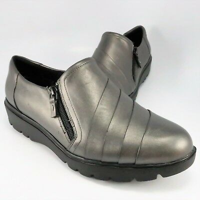 d85e27e95a7fb NEW - EASY Spirit e360 OAKHILL Side-Zip Loafers Womens Size 9.5W Pewter  Leather