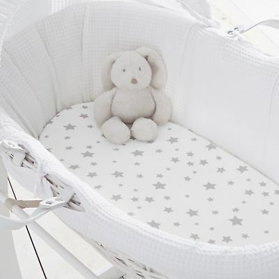 Silentnight Safe Nights 100% Jersey Moses Basket Fitted Sheets, Pack of 2