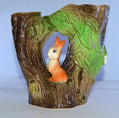 Vintage Eastgate Pottery - Withernsea Double Vase 74 - Tree Trunks & Rabbit
