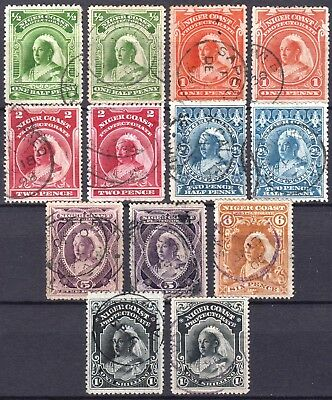 Niger Coast 1897 issue, between SG 66 & 72a, used, exact cat no's below, CV £275