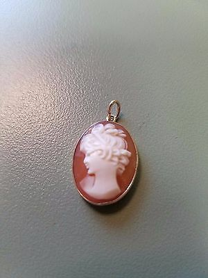 14k Solid Yellow Gold Cameo Pendant 20mm x 15mm Fancy Lady Woman 1.9G