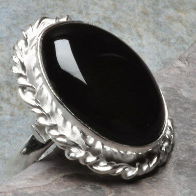 Natural Black Onyx Gems 925 Sterling Silver Plated Over Solid Copper Ring Sz 6