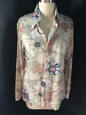 70's New-Deadstock Troy Craft Men's Graphic Print Buttoned Long Sleeve Shirt Med