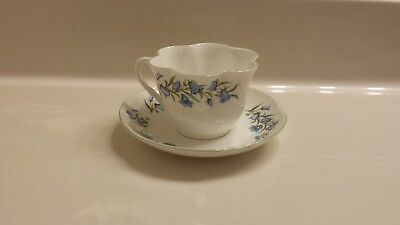 Crown Staffordshire Fine Bone China Tea Cup & Saucer, Made in England, Bluebell