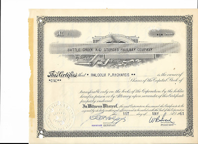 1961 BATTLE CREEK & STURGIS  RR Stock Certificate