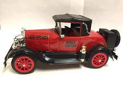 "Jim Beam's Fire Chief's Car Bottle 1928 Model ""A"" Ford Car Decanter Empty"
