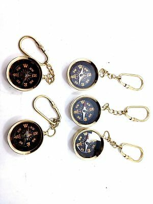 MARITIME-ANTIQUE-BRASS-POCKET-COMPASS-GIFT-KEY-CHAIN Lot-5-PCS-NAUTICAL-VINTAGE
