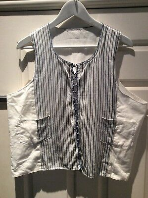 Vintage Moroccan Striped Silk And Cotton Waistcoat Large