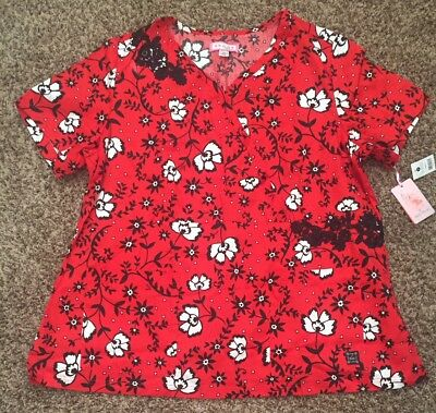BNWT 3X KOI Sabrina-Red and Black Flowers *Perfect for 4th! * RN/CNA Scrub Tunic