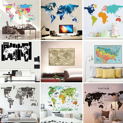 World Map Removable Wall Sticker.Diy Various World Map Removable Vinyl Decal Wall Sticker Home Room