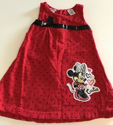 Disney Minnie Mouse Red Corduroy Dress Girls Size 24 Months