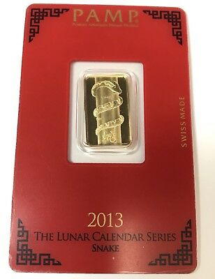 5 GRAM PAMP Suisse Lunar Calendar Series Year of the Snake 999.9 pure Gold Bar