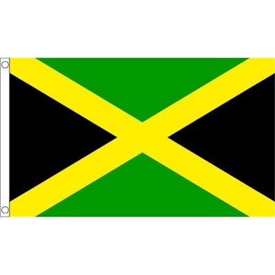 5ft x 3ft Jamaica Flag With 2 Eyelets - Jamaican 5ft National Country Metal